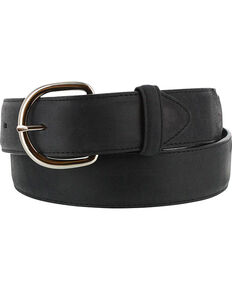 Justin Men's Black Leather Overlay Belt, Black, hi-res