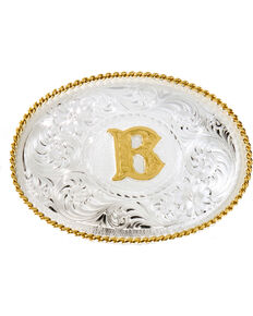 Montana Silversmiths Initial B Western Buckle, Silver, hi-res