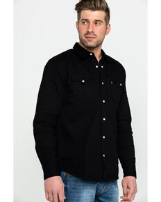 Levis Men's Black Denim Long Sleeve Western Shirt , Black, hi-res