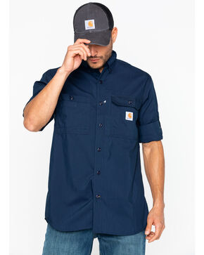 Carhartt Men's Force Ridgefield Work Shirt , Navy, hi-res