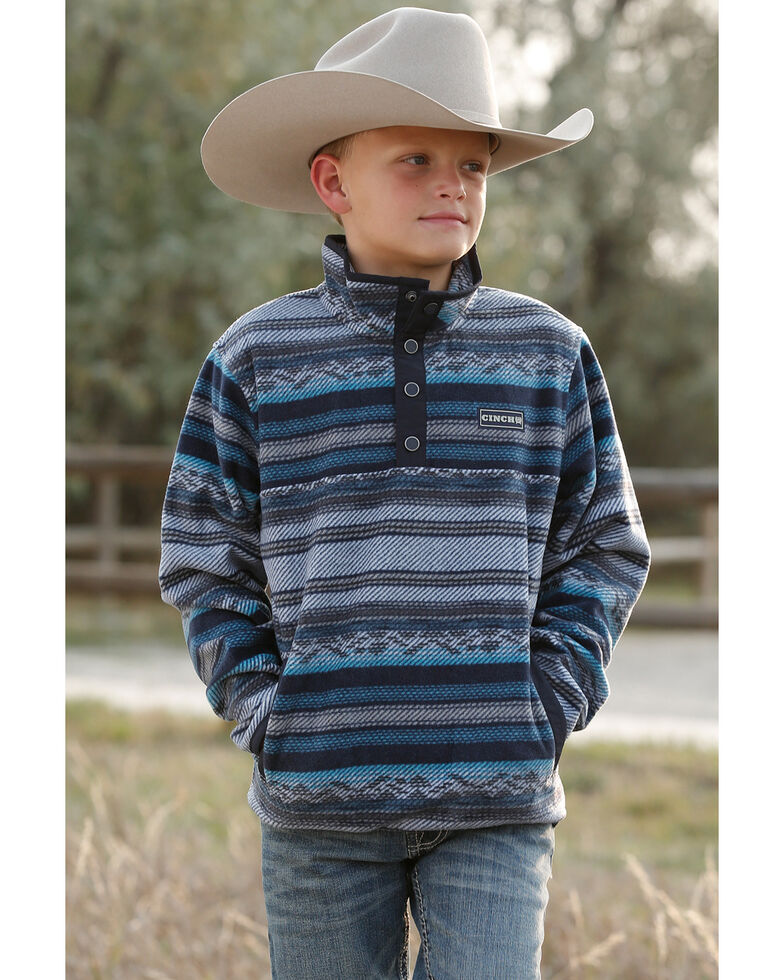 Cinch Boys' Blue Striped Aztec Knit Pullover Sweatshirt , Navy, hi-res