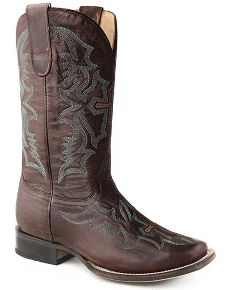 Roper Women's Waxy Embroidered Western Boots - Square Toe, Tan, hi-res