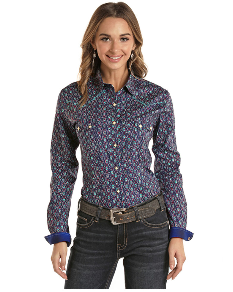 Panhandle Women's Navy Diamond Print Long Sleeve Western Shirt , Navy, hi-res