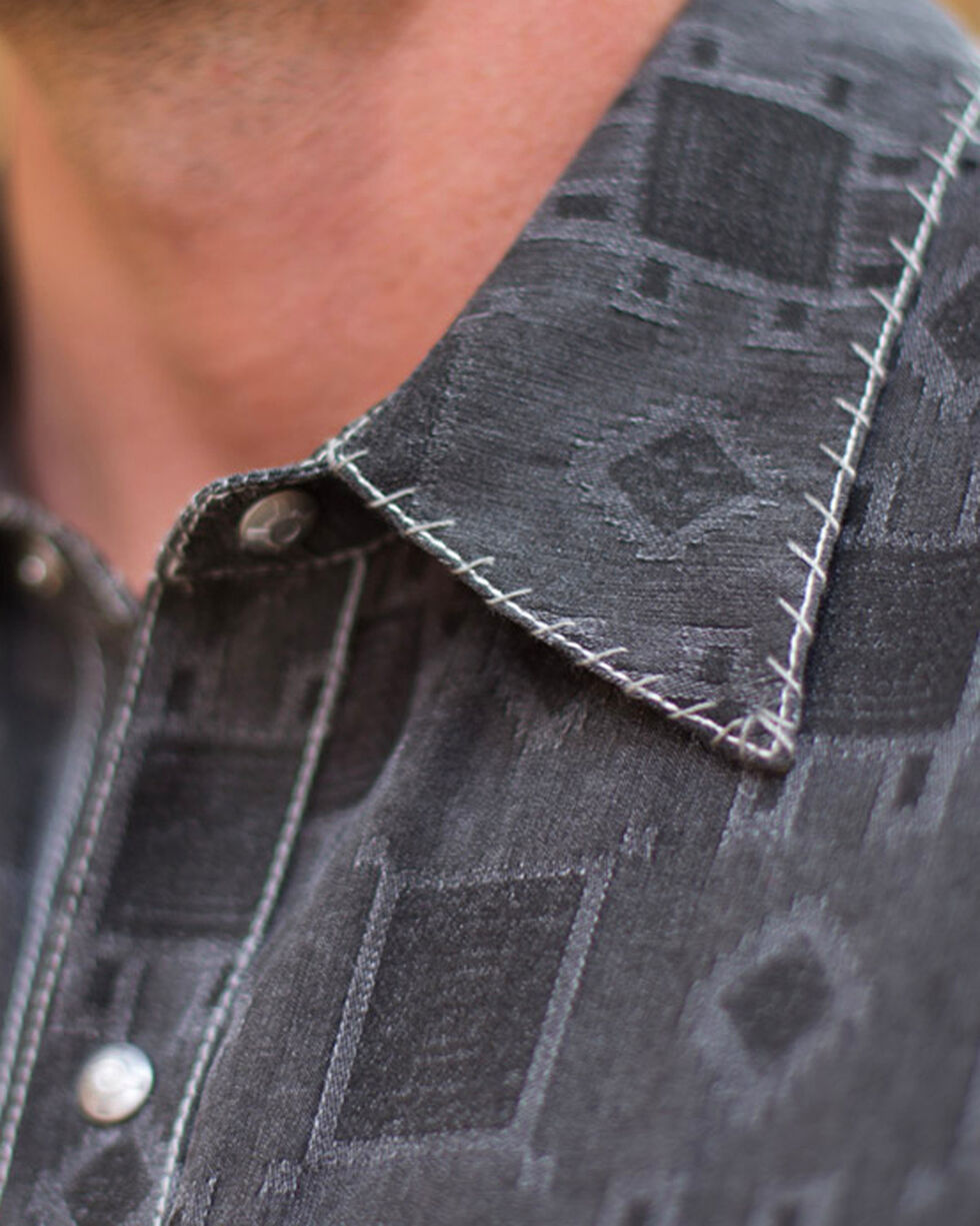 Ryan Michael Men's Brisket Whip Stitch Tile Jacquard Shirt , Grey, hi-res