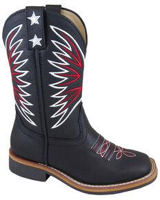 Smoky Mountain Boys' Falcon Western Boots - Square Toe, Black, hi-res