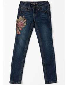 Grace In LA Girls Floral Embroidered Skinny Jeans , Indigo, hi-res