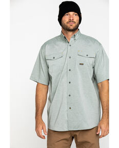 Ariat Men's Olive Rebar Made Tough Durastretch Vent Short Sleeve Work Shirt - Big , Heather Grey, hi-res