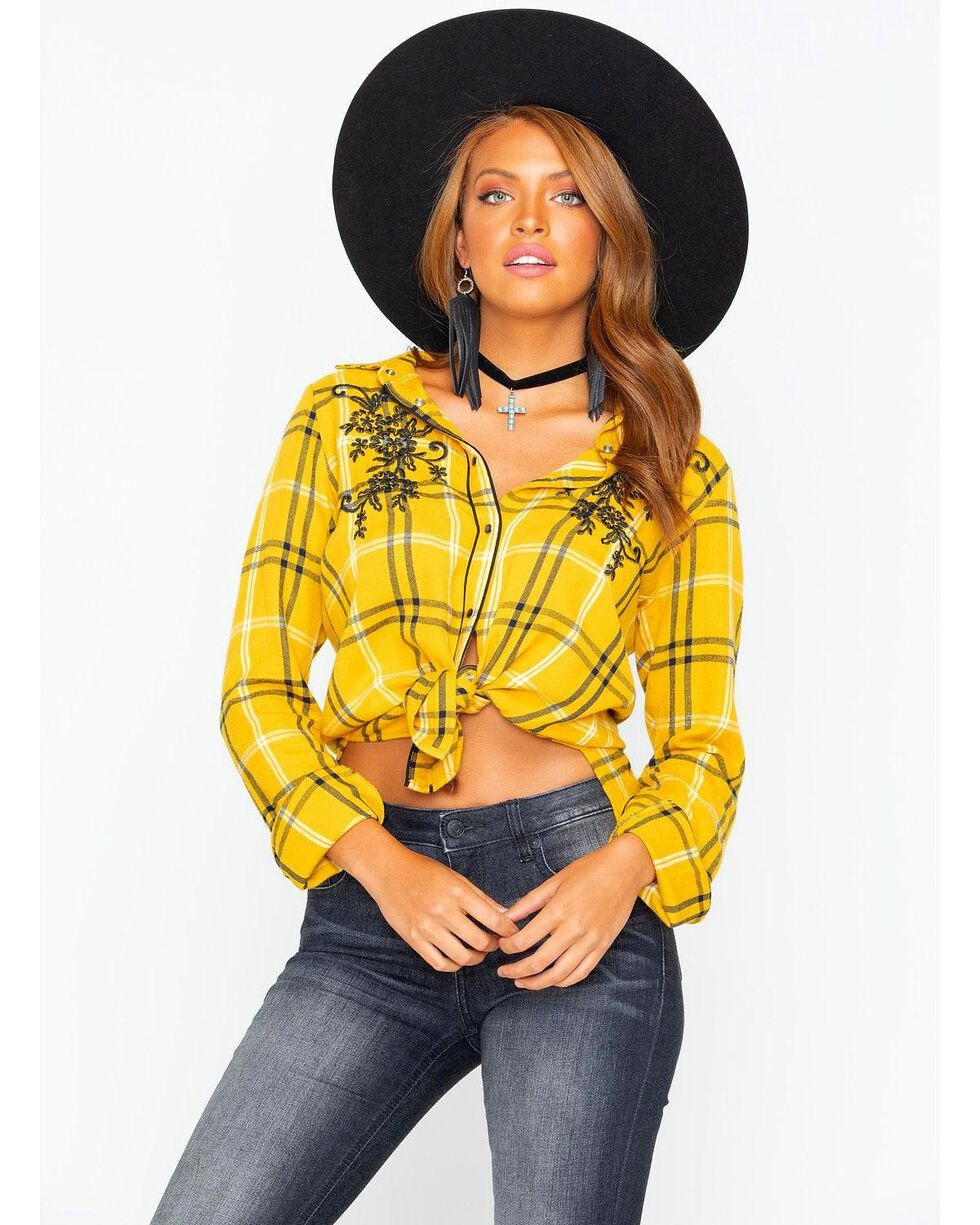 Shyanne Women's Plaid Embroidered Flannel Shirt , Dark Yellow, hi-res