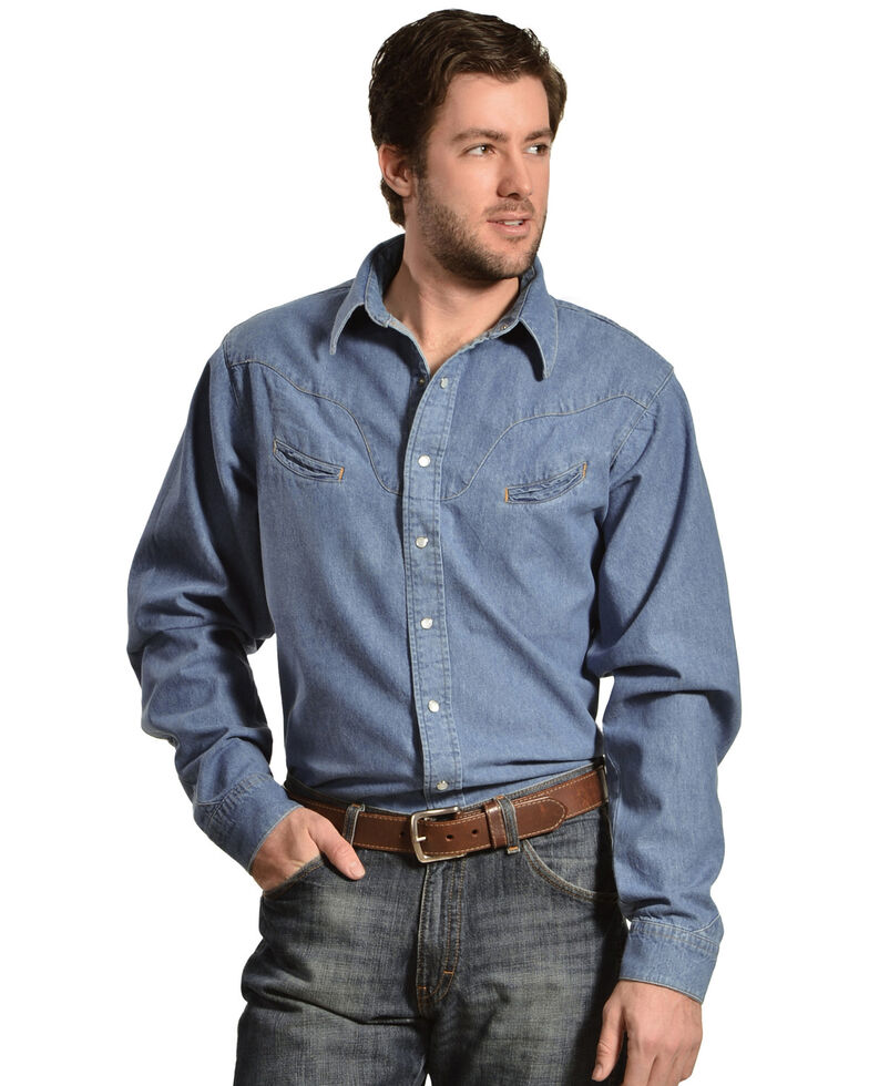 Schaefer Men's Vintage Chisholm Long Sleeve Denim Work Shirt, Denim, hi-res