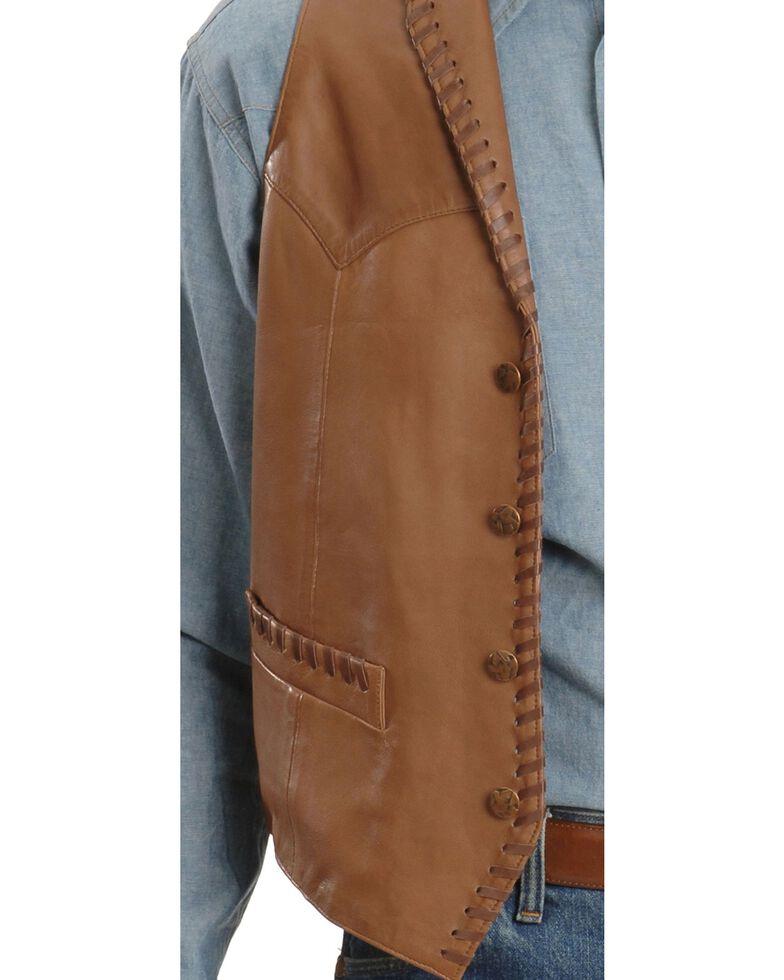 Scully Men's Whipstitch Leather Lapel Vest, Tan, hi-res