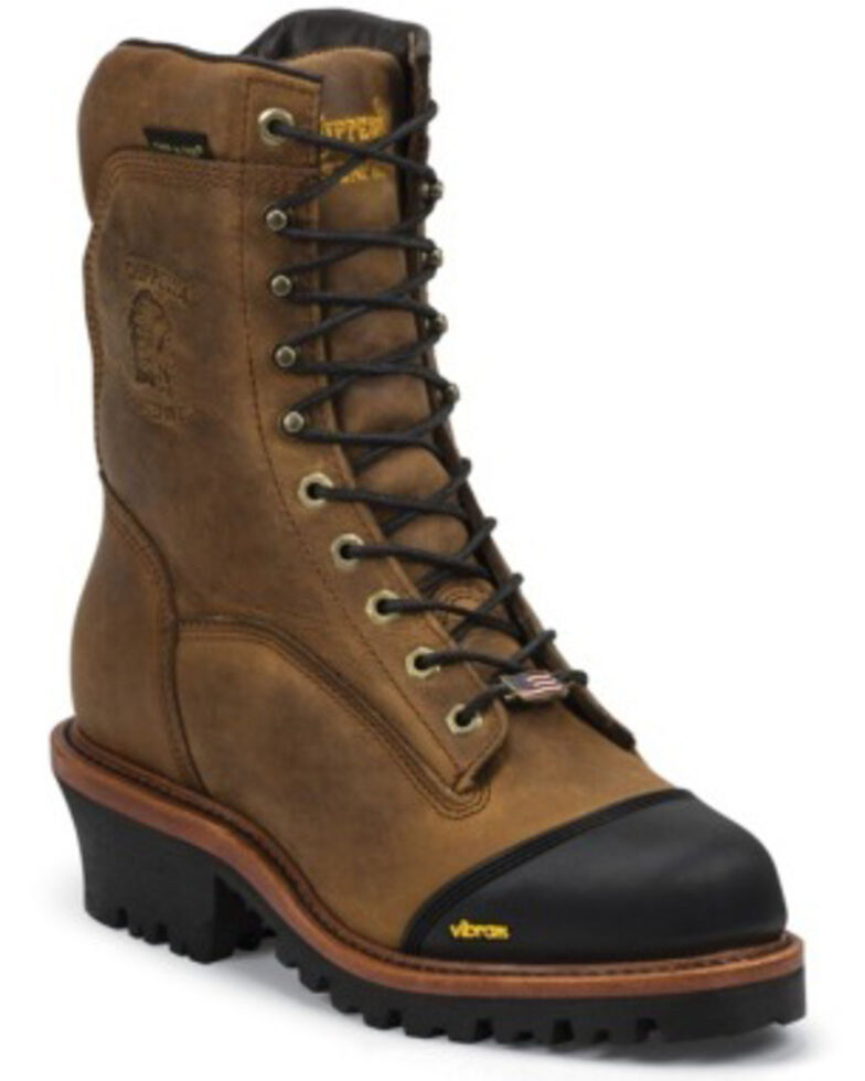"Chippewa Men's 9"" Apache Waterproof Composite Toe Work Boots, Brown, hi-res"