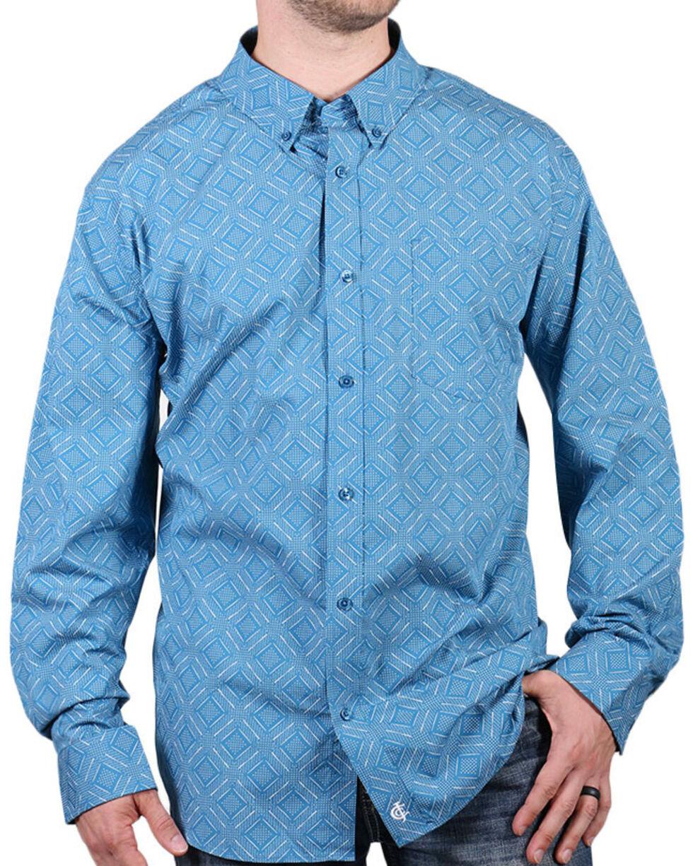 Cody James Core Men's Roughstock Print Long Sleeve Shirt, Turquoise, hi-res