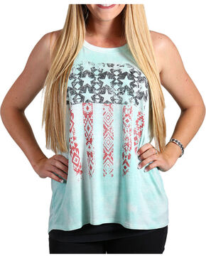 Shyanne® Women's Distressed Aztec Flag Tank, Multi, hi-res