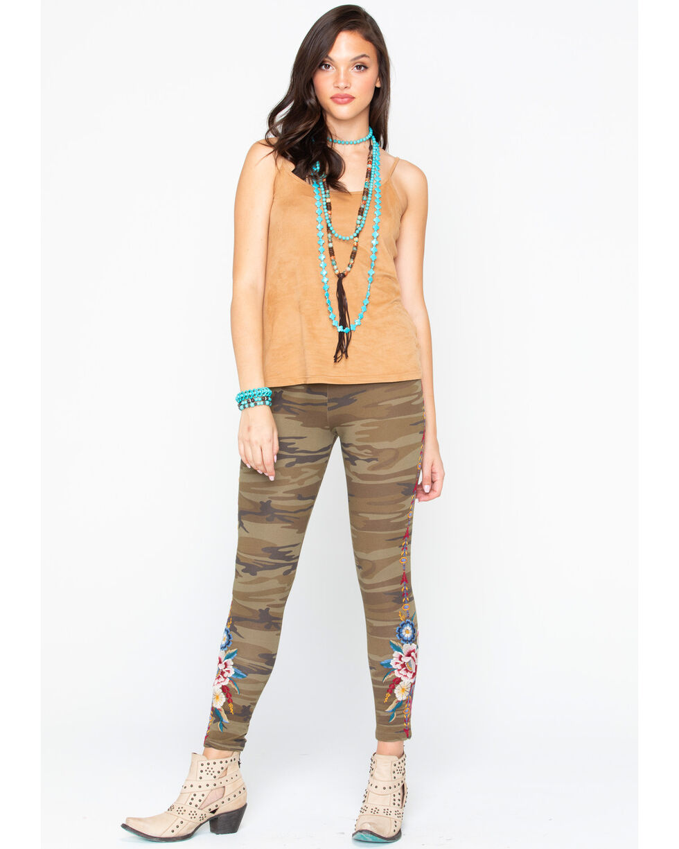 Johnny Was Womens Camo' Darielle Embroidered Leggings  , Camouflage, hi-res