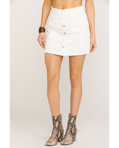 Miss Me Women's White Button Mini Skirt , White, hi-res