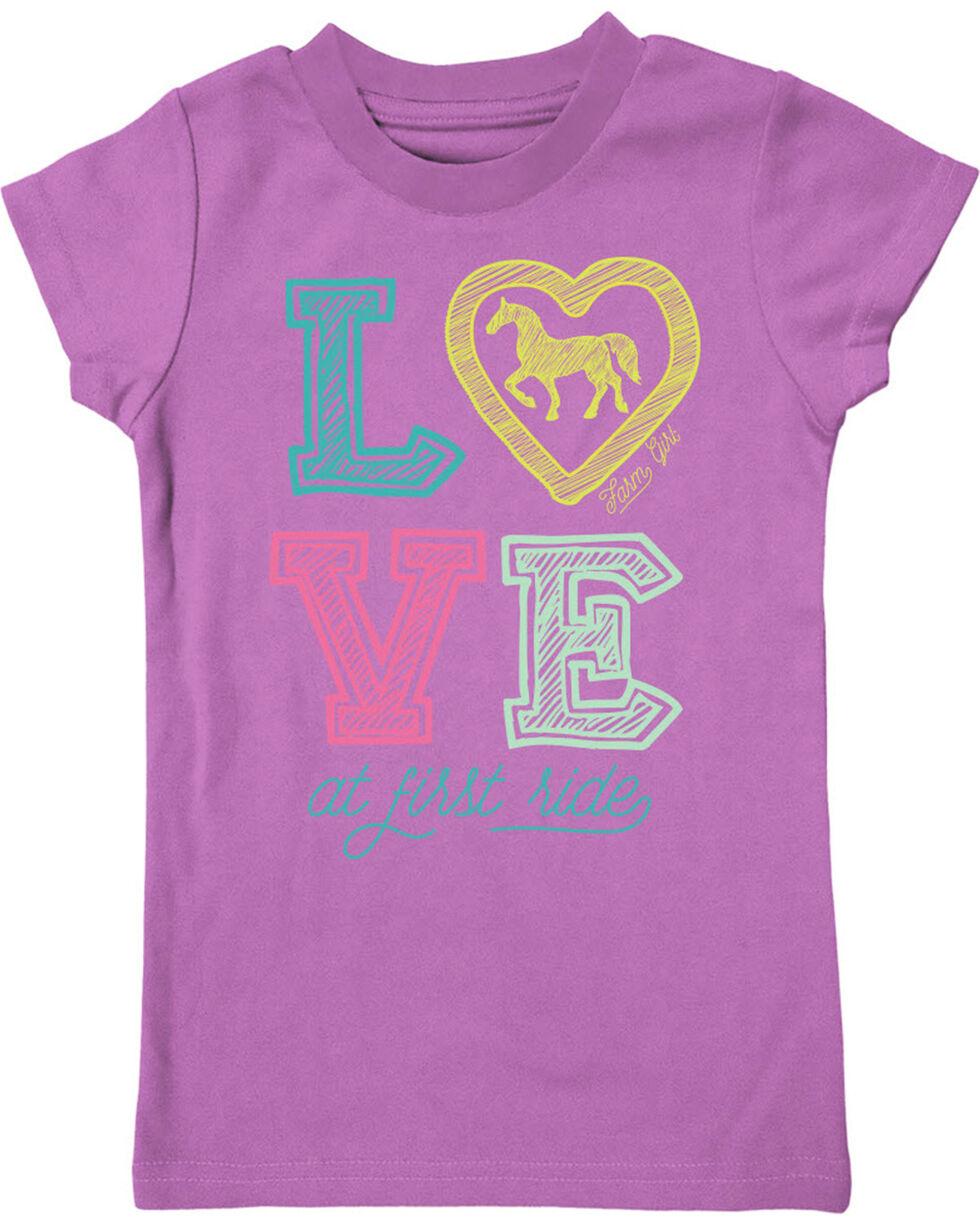 Farm Girl Girls' Love At First Ride Tee, Purple, hi-res