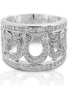 Kelly Herd Women's Seven Horseshoe Ring , Silver, hi-res