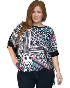 Lawman Women's Printed Chiffon Tunic - Plus, Aqua, hi-res