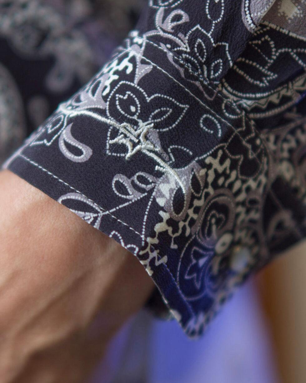 Ryan Michael Women's Midnight Silk Paisley Print Shirt, Navy, hi-res
