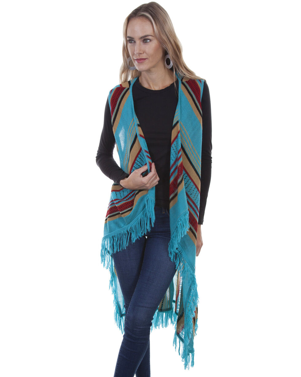 Honey Creek by Scully Women's Turquoise Fringe Sweater Vest, , hi-res