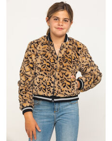 Girl's Faux Fur Leopard Bomber Jacket , Brown, hi-res
