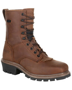 Rocky Men's Waterproof Logger Boots - Composite Toe, Dark Brown, hi-res