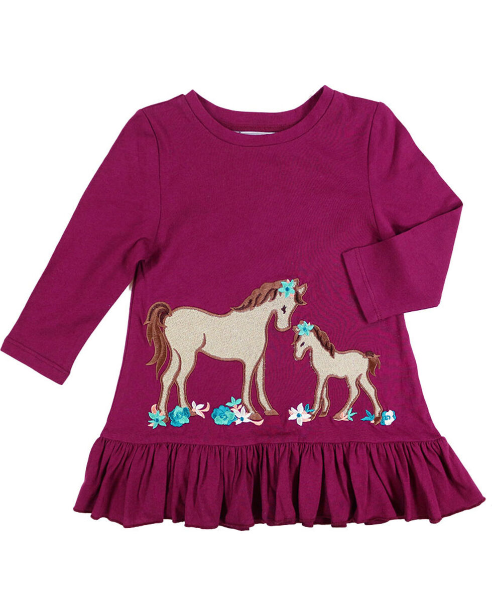 Shyanne® Toddler Girls' Horse and Foal Long Sleeve Shirt, Burgundy, hi-res