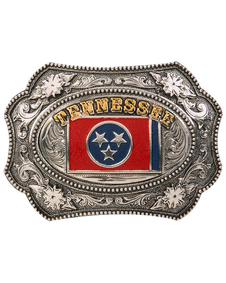 Cody James Men's Tennessee Flag Regional Buckle, Silver, hi-res