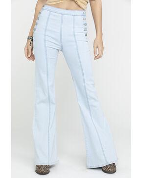 Flying Tomato Women's Button Side Dark Denim Flare Trouser Jeans, Blue, hi-res