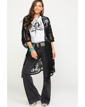 Polagram Women's Black Lace Long Kimono, Black, hi-res