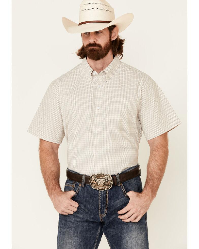 Cody James Core Men's Celestial Small Plaid Short Sleeve Button-Down Western Shirt , Beige/khaki, hi-res
