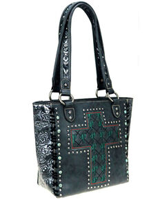 Montana West Women's Black Cactus Concealed Carry Tote, Black, hi-res