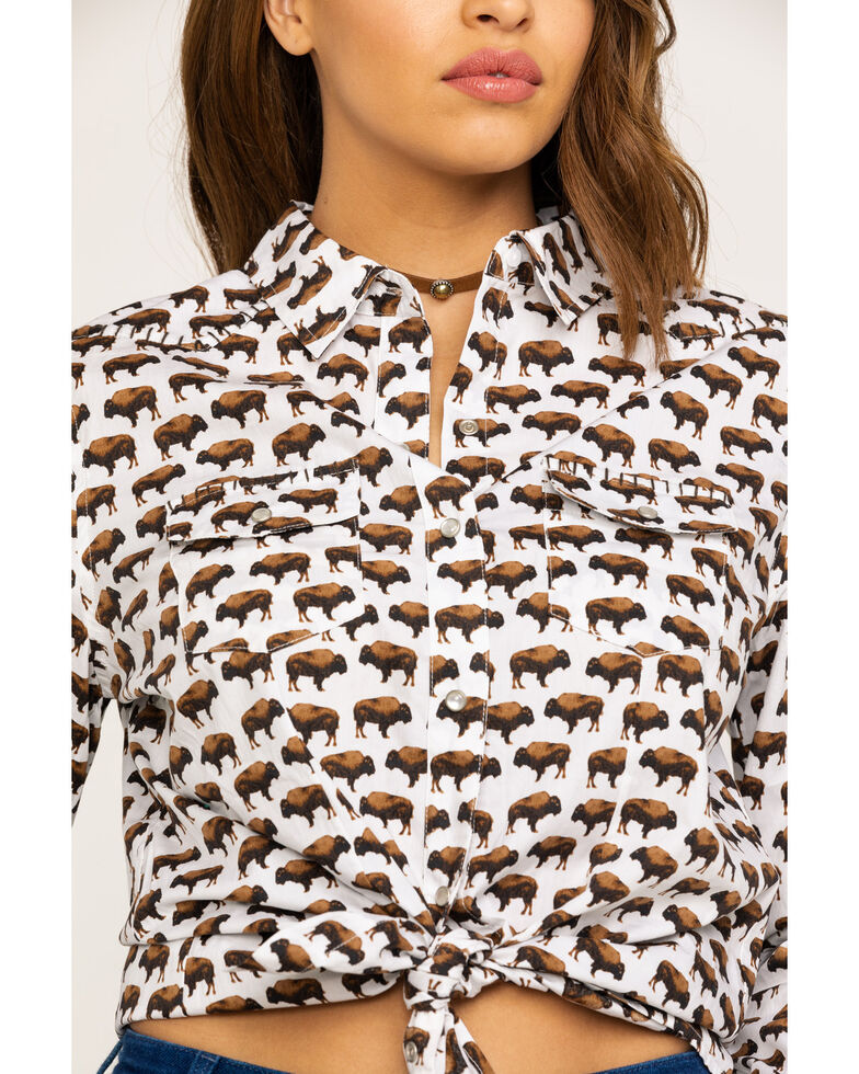 Cotton & Rye Outfitters Women's Allover Buffalo Long Sleeve Western Shirt, White, hi-res