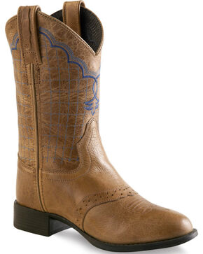 Old West Tan Boys' Western Boots - Round Toe , Tan, hi-res