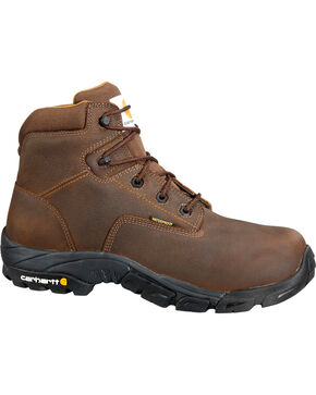 "Carhartt Men's 6"" Waterproof Bison Brown Work Hiker Boots - Comp Toe, Chocolate, hi-res"