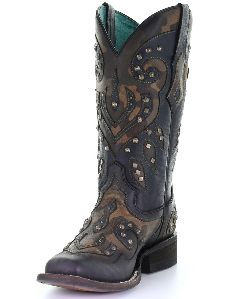 Corral Women's Camo Inlay With Studs Western Boots - Square Toe, Black, hi-res