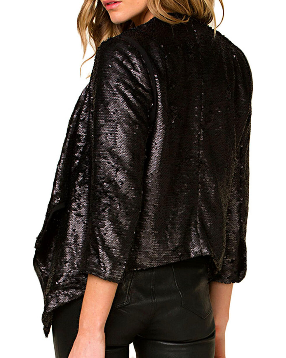 Miss Me Women's Black Sequin Draping Cardigan, Black, hi-res