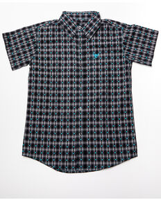 Cowboy Hardware Boys' Jacquard Plaid Short Sleeve Western Shirt, Grey, hi-res