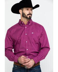 Ariat Men's Atticus Stretch Plaid Long Sleeve Western Shirt , Burgundy, hi-res