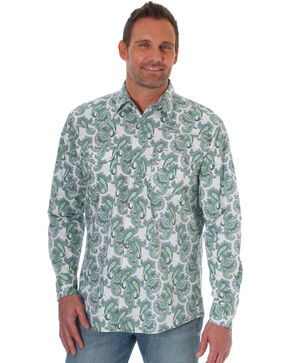 Wrangler 20x Men's Green Paisley Competition Advanced Comfort Long Sleeve Western Shirt , Green, hi-res