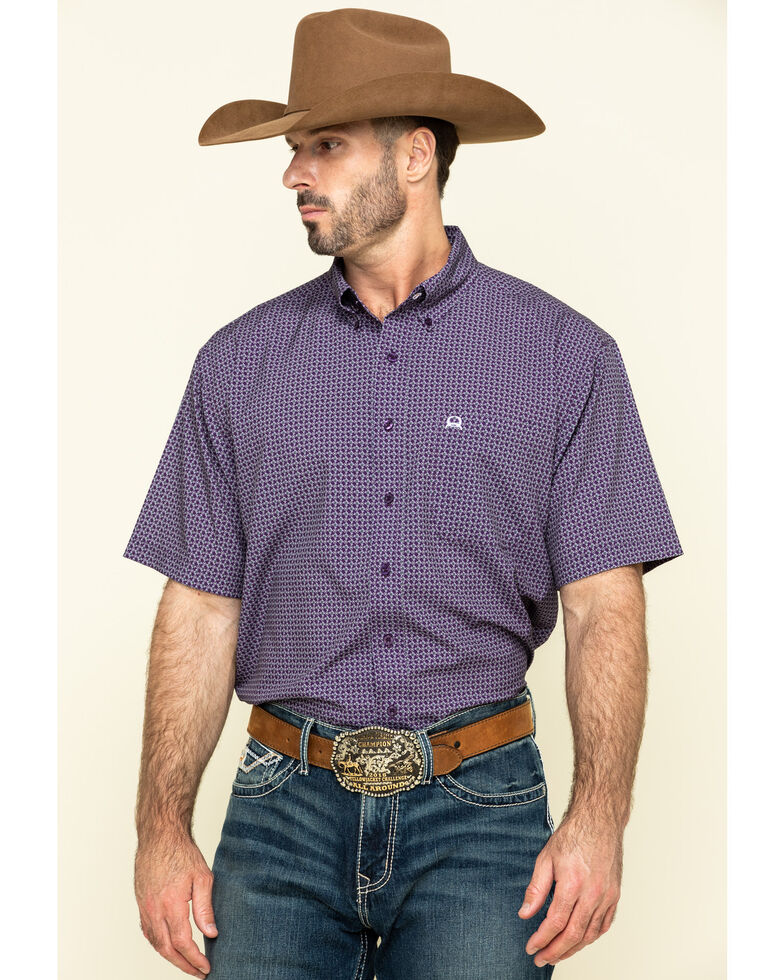 Cinch Men's Arena Fit Purple Small Geo Print Short Sleeve Western Shirt , Purple, hi-res
