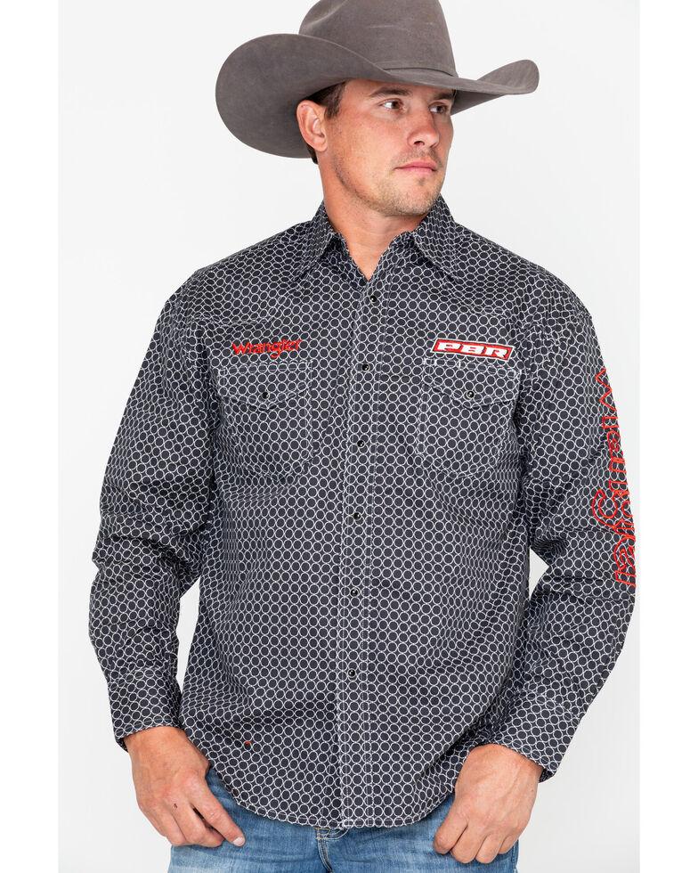 Wrangler Men's Grey PBR Logo Geo Print Long Sleeve Western Shirt , Black, hi-res