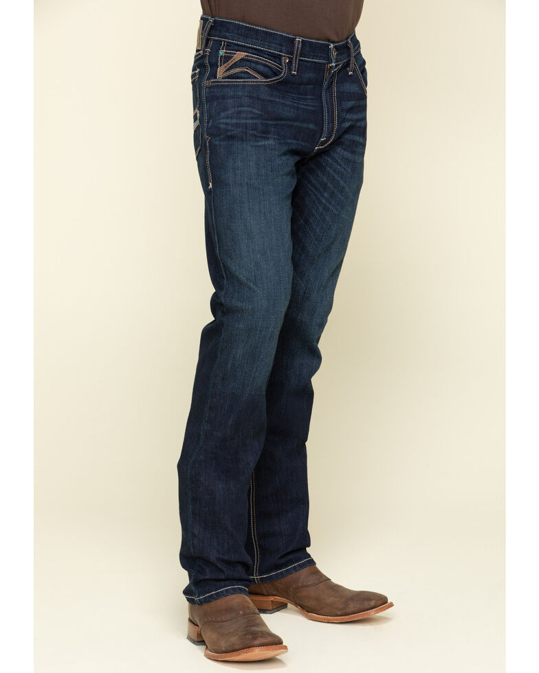 Ariat Men's M4 Roth Dark Stretch Low Stackable Relaxed Straight Jeans - Big , Blue, hi-res