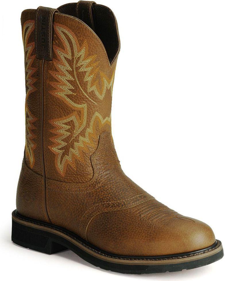 Justin Men's Soft Toe Work Boots, Tan, hi-res