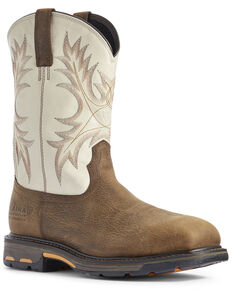 Ariat Men's Cream Workhog Western Work Boots - Composite Toe, Brown, hi-res