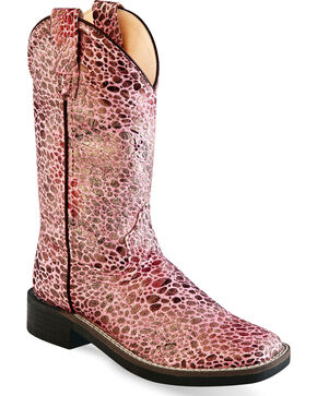 Old West Girls' Pink Glitter Leopard Boots - Square Toe , Pink, hi-res