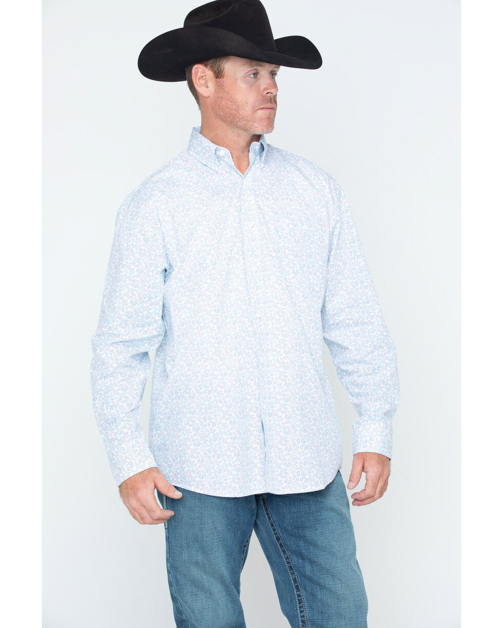 George Strait by Wrangler Men's Paisley Long Sleeve Shirt , Red/white/blue, hi-res