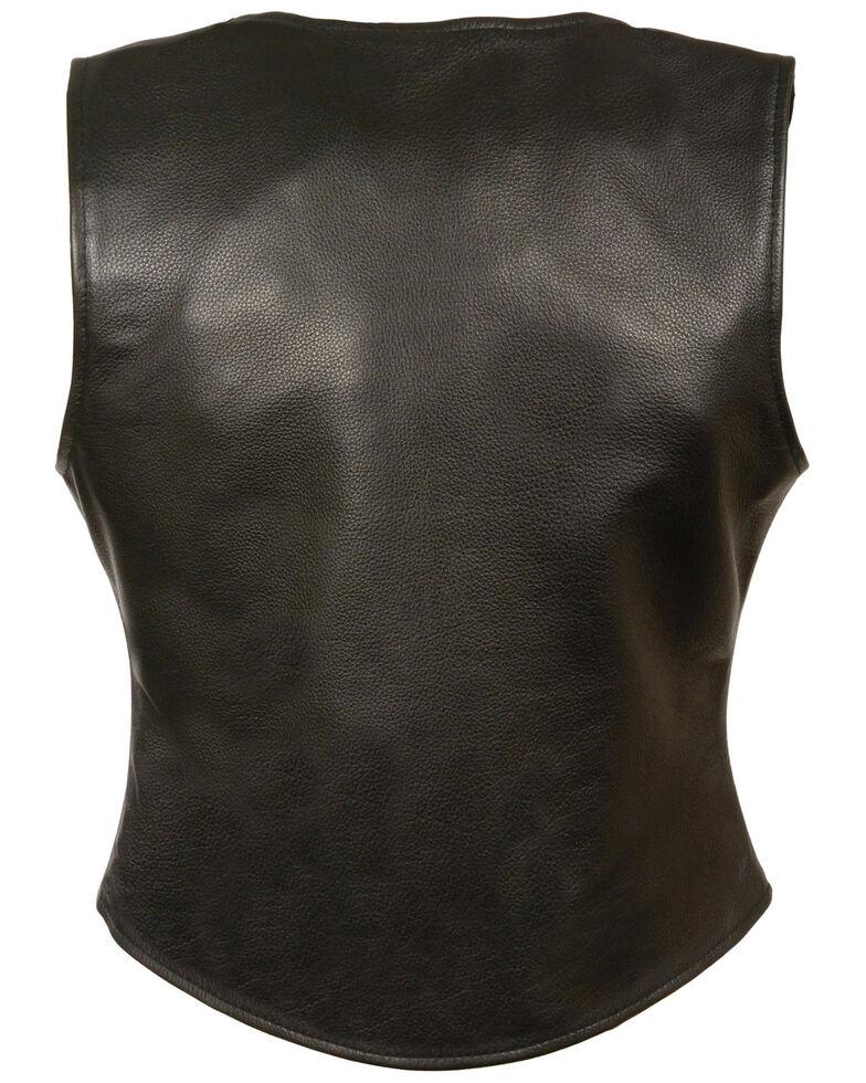 Milwaukee Leather Women's Snap Front Long Body Vest, Black, hi-res