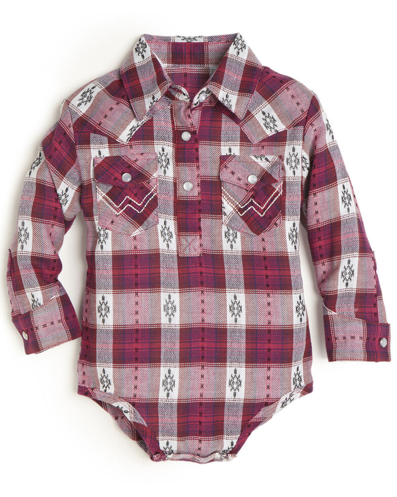 Wrangler Infant Girls' Pink Plaid Long Sleeve Onesie, Pink, hi-res