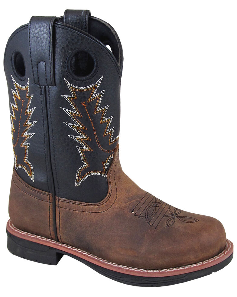 Smoky Mountain Boys' Buffalo Western Boots - Round Toe, Brown, hi-res